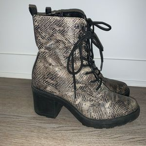 Boots with snake skin design